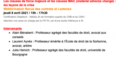 Formation sur les clauses de force majeure et les clauses MAC